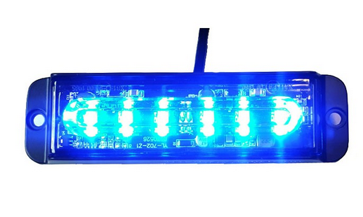 Blitzleuchte Warnleuchte Strobo Blau 6 Power LED 12-24V