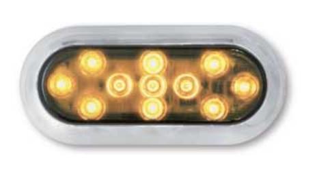 LED Blinkleuchte Oval, mit Chrom Rahmen 12V und 24V