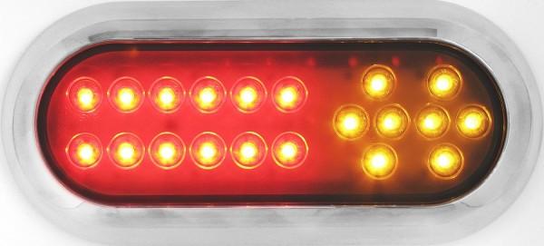 3-Funktion, LED Rückleuchte Oval, mit Chromrahmen