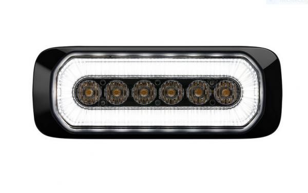 LED- Warnlicht R65 gelb + Positionslicht vorne weiß ECE
