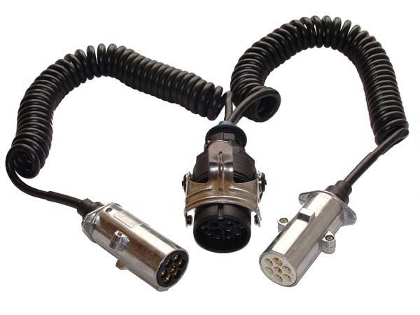 Adapter Spiralleitung 24-Volt, 1x15 zu 2x7 Pol Stecker
