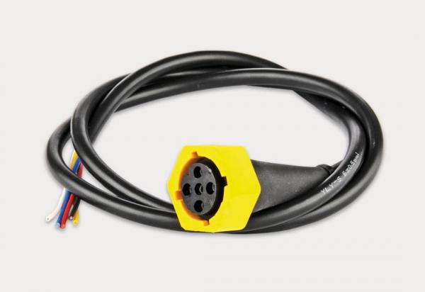 Bajonettstecker 5 Pin, Gelb mit 5x0,5 mm² Kabel, 2m