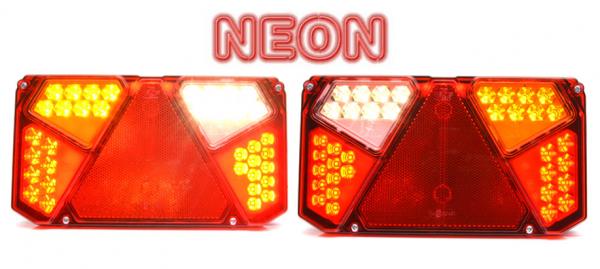 NEON LED Rückleuchten 12V/24V das Paar mit Kennzeichenb.