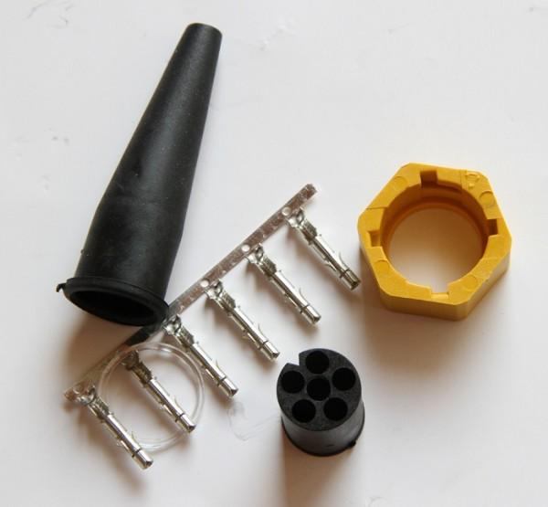 Bajonett-Stecker 6 polig Gelb