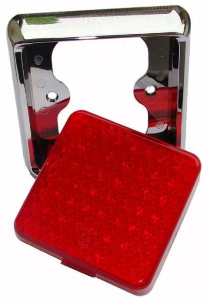 2-Funktion Brems-Schlussleuchte LED, Quadrat Chromhalter